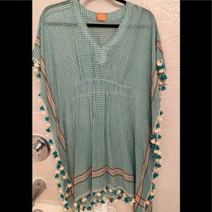 Boho Gypsy Blouse -Size S - Green & Cream